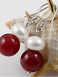 Freshwater pearl red agate 0.9-1.0cm Earrings Classical Feminine Style