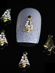 10pcs arbre de Noël mignon alliage ongles 3d strass or clou bricolage décoration d'art