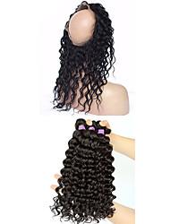 cheap -Mongolian Hair 360 Frontal / Deep Wave Virgin Human Hair Hair Weft with Closure 4 Bundles Human Hair Weaves 8a Human Hair Extensions