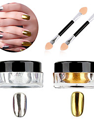 cheap -1g/box Nail Polish Treatment Glitter Powder Sliver Gold Glitter Nail Art Chrome Pigment