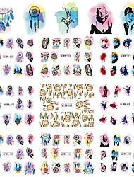 12 Designs New Fashion 1 Sheet Watercolor Windmill/Lady Mixed Design Watermark Stickers Nail DIY Decoration Tip Tools BN421-432