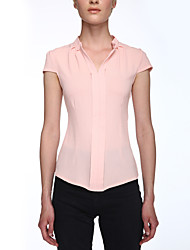 Women's Solid Pink / White / Purple Blouse,V Neck Short Sleeve