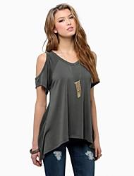 Damen Solide Einfach Lässig/Alltäglich T-shirt,Rundhalsausschnitt / Schulterfrei Sommer Kurzarm Rot / Schwarz / Grau / Grün Baumwolle