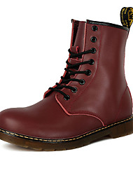 cheap -Men's Shoes PU Winter Fall Comfort Boots Lace-up for Casual Black Dark Brown Red
