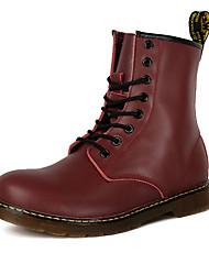 preiswerte -Herrn Schuhe PU Winter Herbst Komfort Stiefel Schnürsenkel für Normal Schwarz Dunkel Braun Rot
