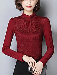 economico -Standard Pullover Da donna-Per uscire Taglie forti Semplice Tinta unita Blu Rosso Nero Grigio Colletto alla coreana Manica lunga