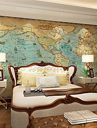 cheap -JAMMORY Art Deco Wallpaper Retro Wall CoveringCanvas Large Mural  World MapXL XXL XXXL