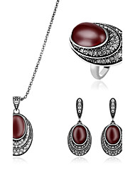 cheap -Women's Jewelry Set Synthetic Ruby Rhinestone Synthetic Gemstones Imitation Diamond Alloy Luxury Wedding Party Daily Rings 1 Necklace 1