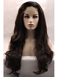 cheap -Best Selling Natural Long Wavy Fashion Realistic Wig Dark Chocolate Brown Color Glueless Synthetic Lace Front Wigs Half Hand Tied Hair for Women