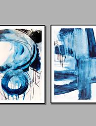 Недорогие -iarts синий искусство морской живописи handpainted 2 панели обрамлены современные две панели холст масляной живописи