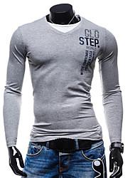 Herren Solide Buchstabe Einfach Ausgehen Lässig/Alltäglich T-shirt,V-Ausschnitt Alle Saisons Langarm Mehrfarbig Baumwolle Mittel