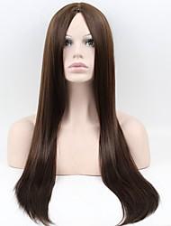 Donna Parrucche sintetiche Senza tappo Lungo Molto lungo Lisci Marrone Parrucca naturale Parrucca di Halloween Parrucca di carnevale