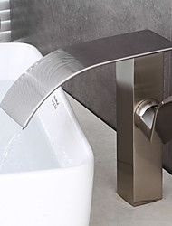 cheap -Contemporary Brass Nickel Brushed Waterfall Bathroom Sink Faucet