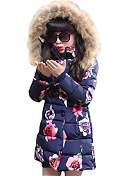 Girls' Daily Going out School Floral Down & Cotton Padded,Polyester Winter Long Sleeve Floral Lace Navy Blue Pink