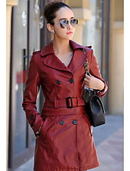 cheap -Women's Daily Wear Coats Spring Fall Leather Jacket,Solid Peaked Lapel Long Sleeves Long Polyester