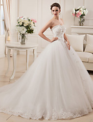 Ball Gown Sweetheart Court Train Lace Tulle Wedding Dress with Beading Appliques Bow by LAN TING BRIDE®