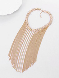cheap -Women's Choker Necklace  -  Tassel Multi Layer Fashion Line Silver Golden Necklace For Party Daily Casual