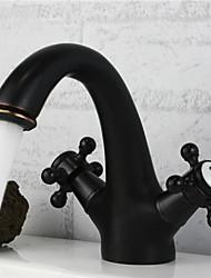 baratos -Antigo Conjunto Central Single Handle Uma Abertura in Bronze Oleado Torneira pia do banheiro