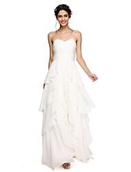 Linha A Decote Princesa Longo Chiffon Vestido de Madrinha com Cruzado Franzido Franja(s) de LAN TING BRIDE®