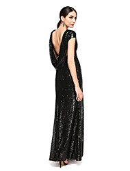 cheap -Sheath / Column Scoop Neck Floor Length Sequined Bridesmaid Dress with Sequin by LAN TING BRIDE®