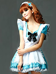 cheap -Maid Costume Career Costumes Cosplay Costume Party Costume Women's Halloween Carnival Festival / Holiday Halloween Costumes White+Blue