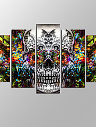 VISUAL STAR®Modern Abstract Skull Picture Giclee Artwork 5 Panels Home Wall Decoration Framed Canvas Print Ready to Hang