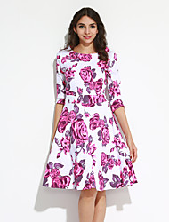cheap -Big Yard Ladies Going out Vintage Sheath / Swing Dress,Floral Round Neck Knee-length ¾ Sleeve Blue / Pink Cotton All