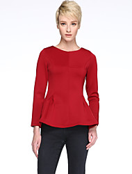cheap -Women's Elegant Solid Slim Ruffle T-shirt , Round Neck Long Sleeve