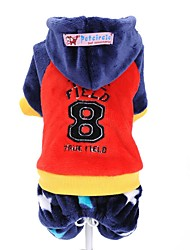 cheap -Dog Clothes/Jumpsuit Red Blue Dog Clothes Winter Letter & Number Cute Sports Fashion Keep Warm