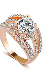 abordables -Femme Bague Strass Or Argent Strass Imitation Diamant Alliage Luxe Mariage Soirée Bijoux de fantaisie