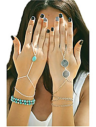baratos -Mulheres Turquesa Pulseiras com Pendentes / Pulseiras Anéis - Turquesa Original, Fashion Pulseiras Prata / Bronze / Dourado Para Festa / Diário / Casual