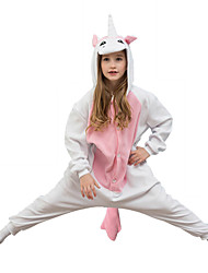 Kigurumi Pajamas Unicorn Leotard/Onesie Festival/Holiday Animal Sleepwear Halloween Pink Solid Polar Fleece For KidHalloween Christmas