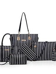 Women Bags All Seasons PU Bag Set 6 Pcs Purse Set for Casual Formal Outdoor Office & Career Black Sky Blue Light Grey Pinky