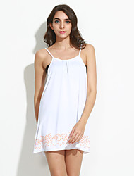 Women's Print White Dress , Beach / Casual Strap Sleeveless
