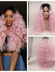 Sexy Beauty High Heat Resistant Loose Wave Kinky Curly Lace Front Wig Synthetic Ombre Pink Dark Root Tone Rock Pink Hair Lace Front Wig Cosplay Wigs