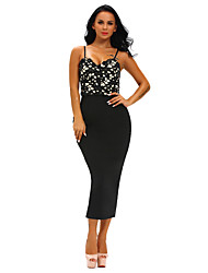 Women's Lace Bustier Lace Top Black Bodycon Dress