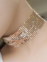 Недорогие -Жен. форма Массивные украшения Мода Простой стиль Панк Ожерелья-бархатки Заявление ожерелья Стразы Серебрянное покрытие Позолоченное