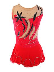 abordables -Robe de Patinage Artistique Femme Fille Patinage Robes Rouge Strass Utilisation Tenue de Patinage Fait à la main Classique Sans Manches
