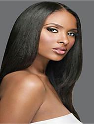 Недорогие -человеческие волосы Remy Бесклеевая сплошная кружевная основа Полностью ленточные Парик стиль Бразильские волосы Прямой Яки Парик 130% 150% 180% Плотность волос / Природные волосы