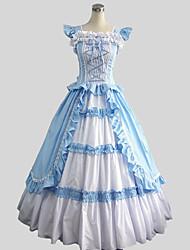 abordables -Victorien Rococo Costume Femme Robes Bal Masqué Costume de Soirée Vintage Cosplay Coton Sans Manches Longueur Cheville