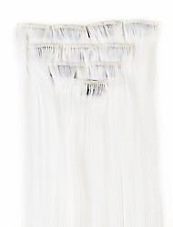 Neitsi 10pcs 18inch Colored Highlight Synthetic Clip on in Hair Extensions White#
