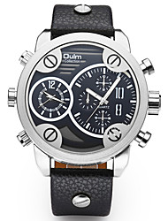 Oulm Pánské Vojenské hodinky Náramkové hodinky Křemenný Hodinky s dvojitým časem Pravá kůže Kapela Cool Běžné nošení Černá HnědáČerná