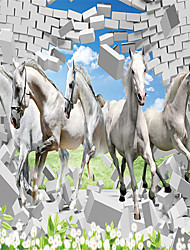 JAMMORY Art DecoWallpaper For Home Wall Covering Canvas Adhesive required Mural A Group of White Horses XL XXL XXXL