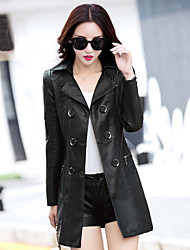 Women's Office/Career Dailywear Formal Date Street Classic Spring Coat,Solid Solid Color Shirt Collar Long Sleeve Long PU Other