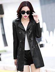 Cappotto Da donna Ufficio / Business Da giorno Formale Appuntamento Strada Classico Primavera,Tinta unita Tinta unica Colletto PU