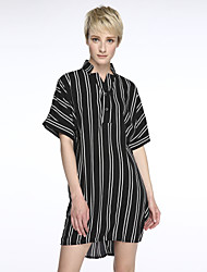 cheap -Women's Striped Street chic Casual Vintage Fashion Classic Shirt,Round Neck Long Sleeve
