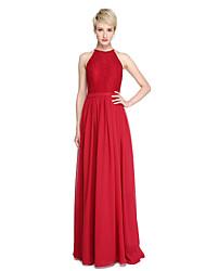cheap -Sheath / Column Jewel Neck Floor Length Chiffon / Lace Bridesmaid Dress with Lace / Sash / Ribbon by LAN TING BRIDE®