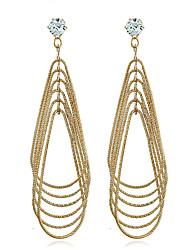 cheap -Men's Women's Dangle Earrings Synthetic Diamond Statement Jewelry Simple Style Multi Layer European Zircon Gold Plated Geometric Drop