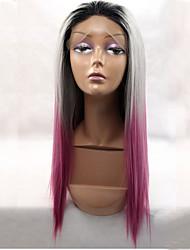 abordables -Pelucas sintéticas Recto Rosa Pelo sintético Rosa Peluca Encaje Frontal