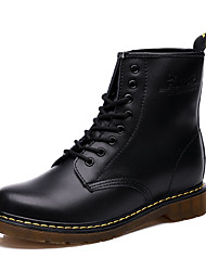 Women's Boots Spring Fall Comfort Fabric Athletic Flat Heel Lace-up Black Brown Red
